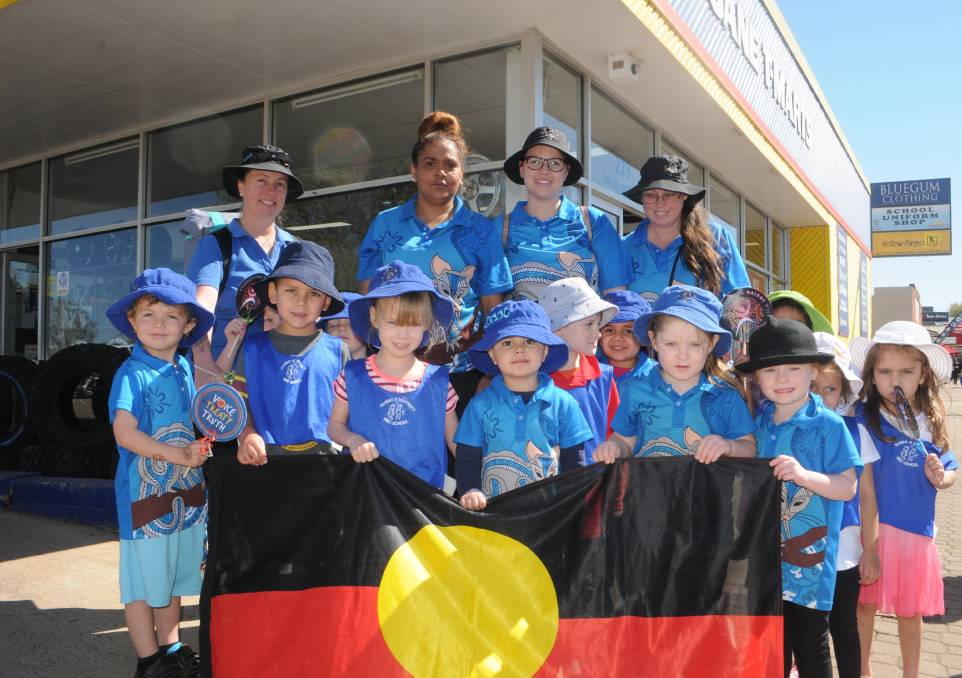 ACKNOWLEDGING CULTURE: Buninyong Preschool staff and potential future leaders of our community took part in Dubbo's NAIDOC Week launch event. Photo: RYAN YOUNG