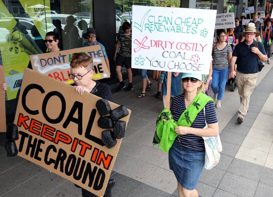 TOGETHER IN PROTEST: Climate change protesters march in Wagga Wagga earlier this year. Photo: LES SMITH