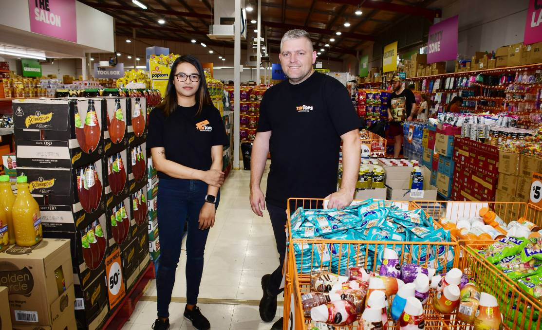 OPENED: Ten Tops Dubbo Store Manager Aastha Khadka and Operations manager Blake Goodsell. Photo: BELINDA SOOLE.