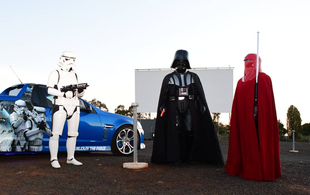 Fun hobby: (Centre) Rodney Cox dressed as his favourite character Darth Vader, with brother Tony Cox in a storm trooper costume and daughter Jessica Cox in an imperial guard costume. Photo: BELINDA SOOLE
