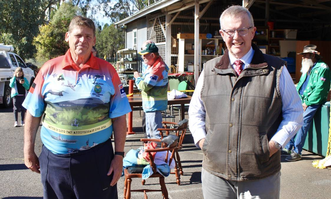 Parkes MP Mark Coulton with Secretary of the National Diggers Bowls Carnival, Eric Chamberlain. Photo: Supplied