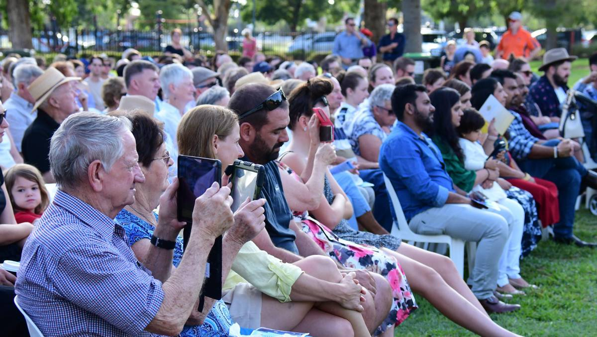 BIG CROWD: Hundreds of people turn out to the 2020 Australia Day ceremonies hosted by Dubbo Regional Council in Victoria Park. Photo: BELINDA SOOLE