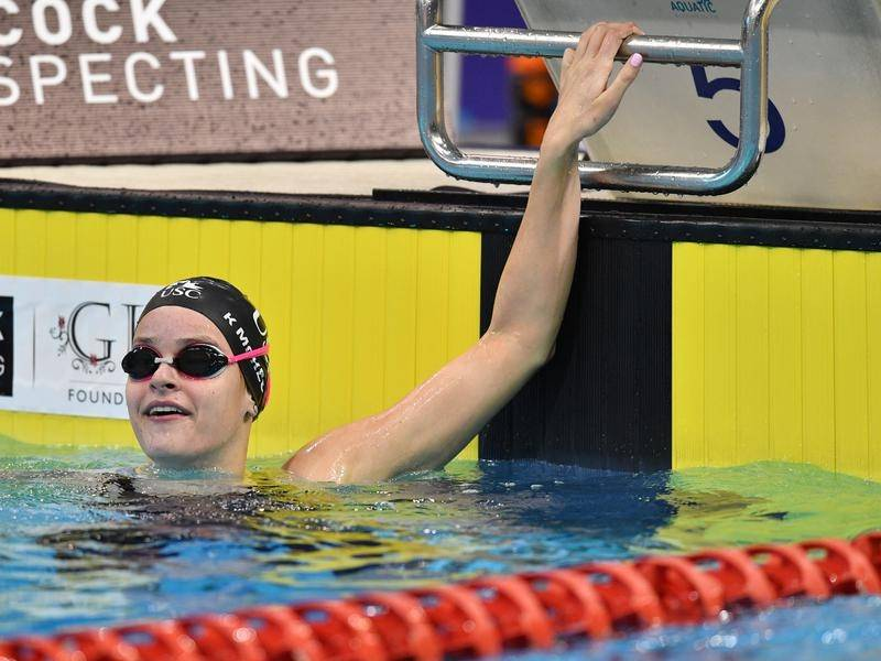 Australia's Kaylee McKeown has swum a world short-course record 1:58.94 in the 200m backstroke.