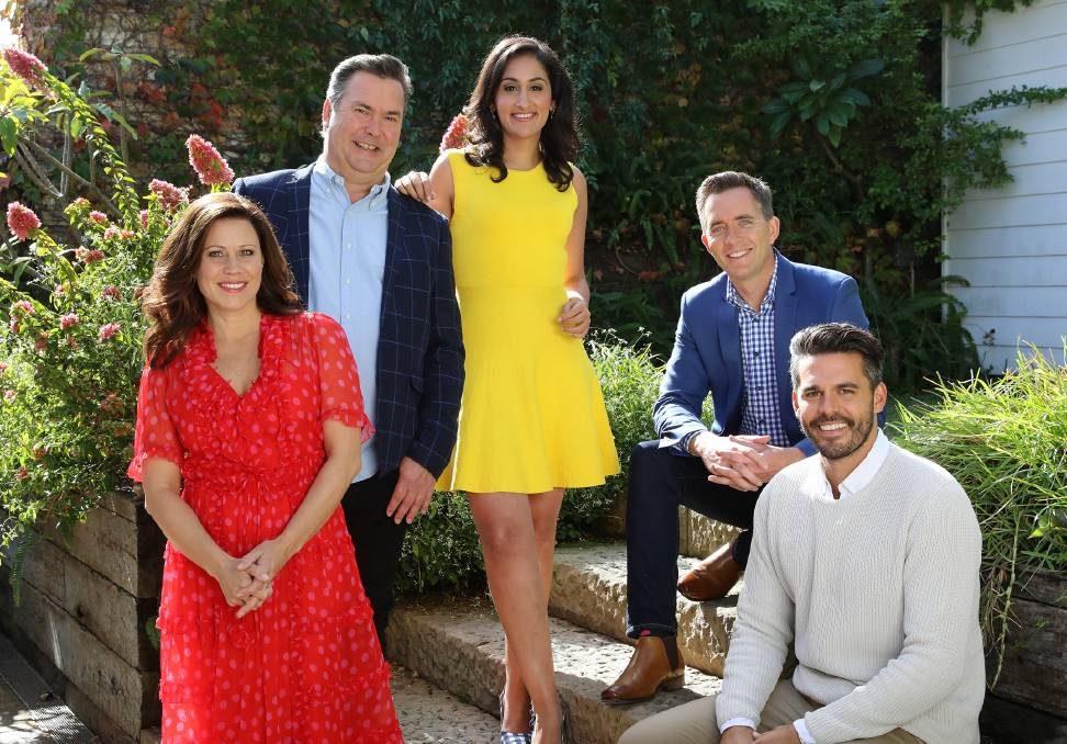The hosts of ABC TV's Escape From The City, from left, Jane Hall, Simon Marnie, Del Irani, Bryce Holdaway and Dean Ipaviz.